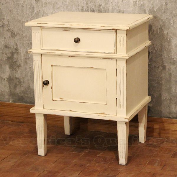 Alijah antique Bedside made from mahogany wood with distressed antique  white paint finish and gustavian style furniture by indonesia furniture  manufacturer - Alijah Bedside With Antique White Paint Tuunatut Huonekalut