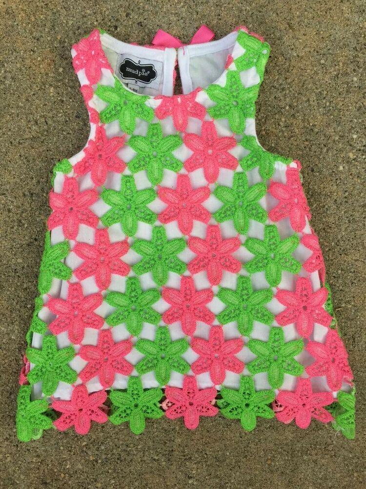3693d356cbe4 Mud Pie Baby Girls Dress size 6-9 months Pink Green  fashion ...