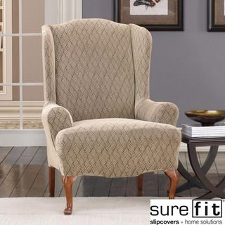 Sure Fit Wing Chair Slipcover Pictures Of Rails In Living Rooms Stretch Braid Camel Overstock Com Shopping Big Discounts On Recliner Slipcovers