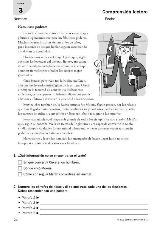 RECURSOS PRIMARIA | Fichas de comprensión lectora para 6º ~ La ...