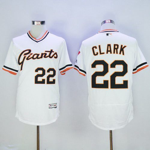 Men's San Francisco Giants #22 Will Clark Retired Orange Pullover 2016 Flexbase Majestic Baseball Jersey