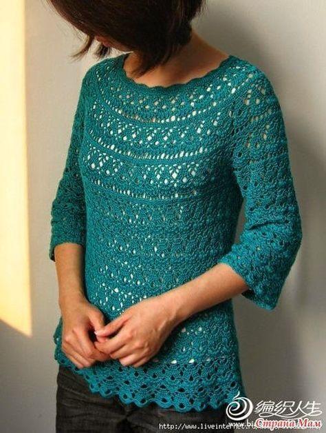 Tejido Facil: Patrón: Casaca verde azulada preciosa! | GANCHILLO ...