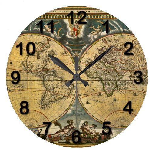 Antique World Map Distressed 2 Wallclocks Antique World Map Vintage Clock Clock