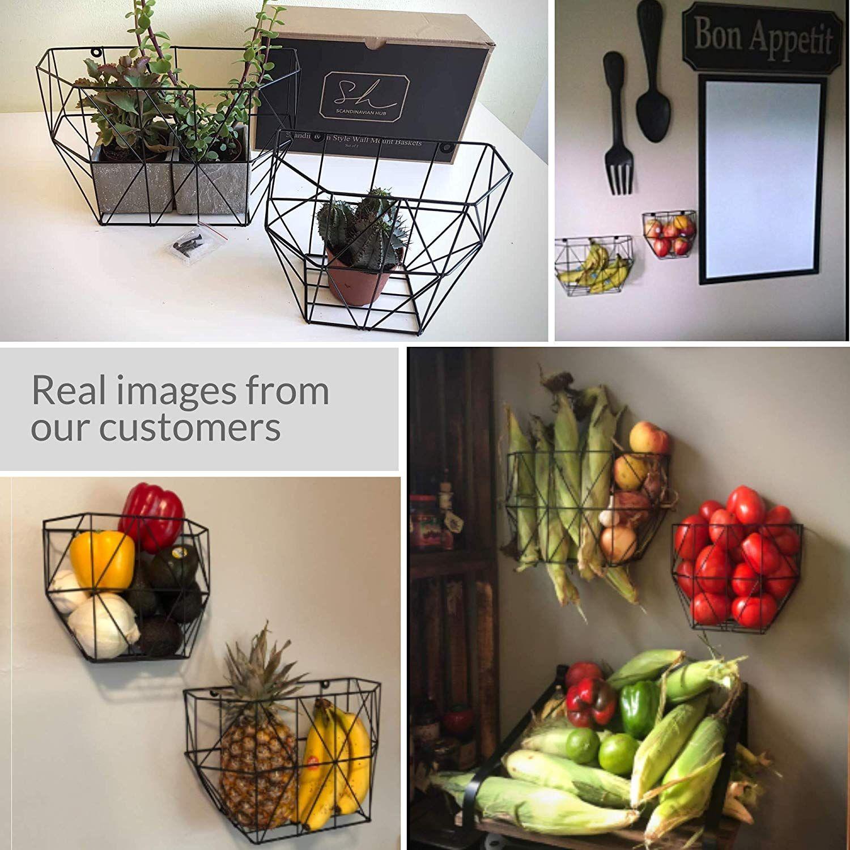 Scandinavian Hub Wall Mounted Wire Basket Farmhouse Fruit Basket Set Of 2 For Use As Fruit Or Produce Basket Wall Pla Hanging Fruit Baskets Produce Baskets