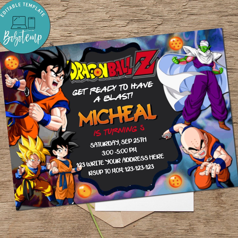 Dragon Ball Birthday Invitation Dragonball Z Invitation Printable Bobotemp Birthday Invitations Ball Birthday Custom Birthday Invitations
