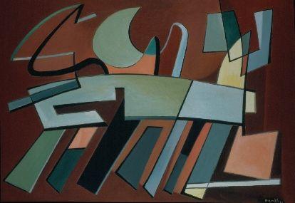 """Alberto Magnelli - """"Presque rapide"""", 1937, olio su tela,  114 x 162 cm. Mart, Provincia Autonoma di Trento"""