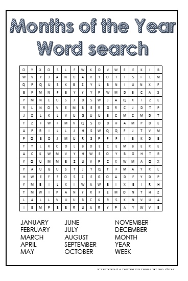 Calendar Pages Crossword : Months of the year word search free printables classroom