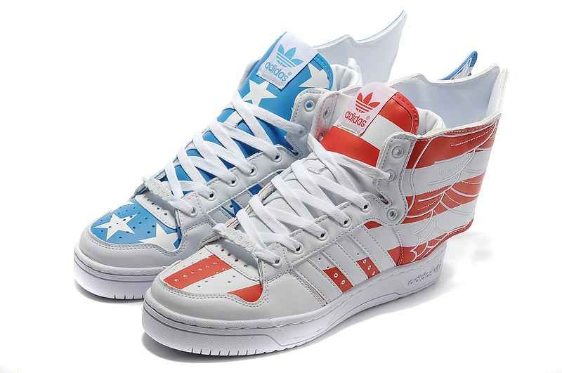 Adidas X Jeremy Scott Wings 2.0 America Flag Shoes Red Blue ... 33a374840