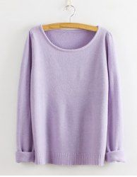 $12.96 Laconic Style Solid Color Cotton Blend Sweater For Women