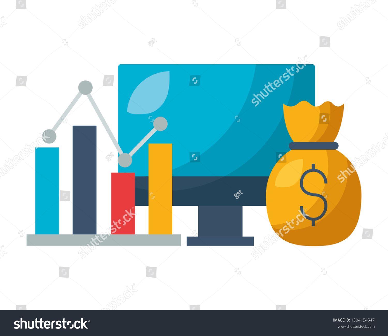 Computer Chart Money Bag Stock Market Sponsored Ad Money Chart Computer Market Money Bag Chart Royalty Free Stock Photos