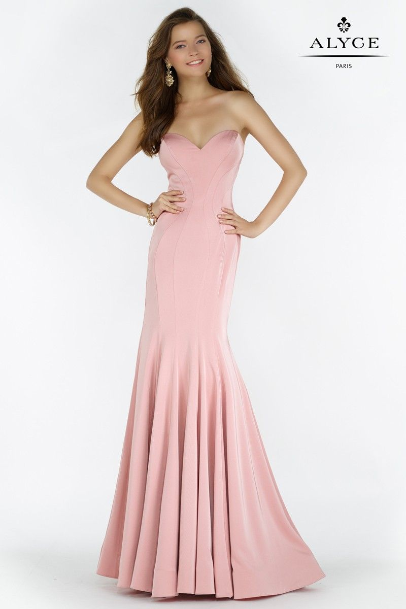 Alyce 6795 Strapless Pleated Mermaid Gown with Peplum Ruffle   Flacos
