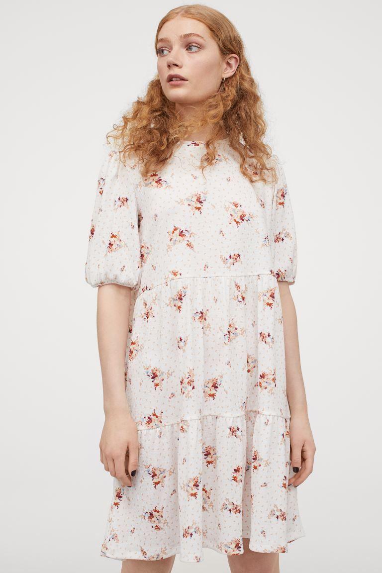 jerseykleid mit puffärmeln - weiß/geblümt - ladies | h&m de