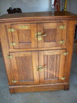 Rare 1897 Baldwin Antique Icebox Oak Ebay Antique Ice Box Antique Oak Furniture Vintage Ice Box