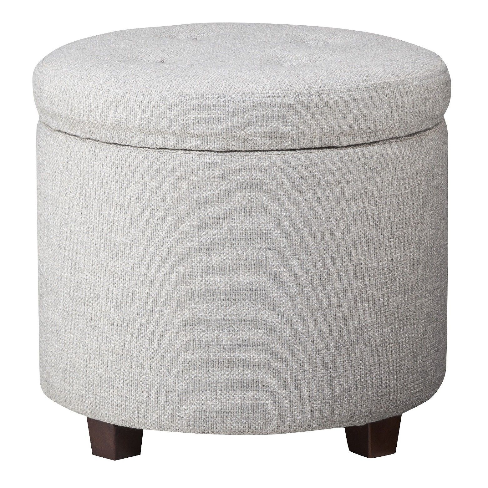 buy popular c6e18 a7d71 Round Tufted Storage Ottoman Gray Textured Weave - Threshold ...
