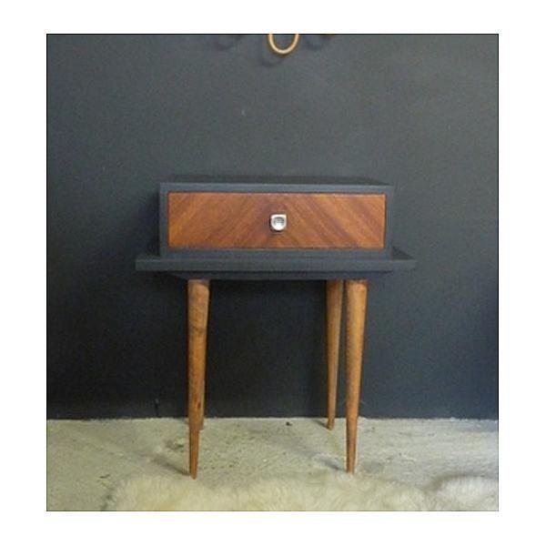 de chevet peinte pieds table gris nuit vintage en tiroir 7bf6gyYv