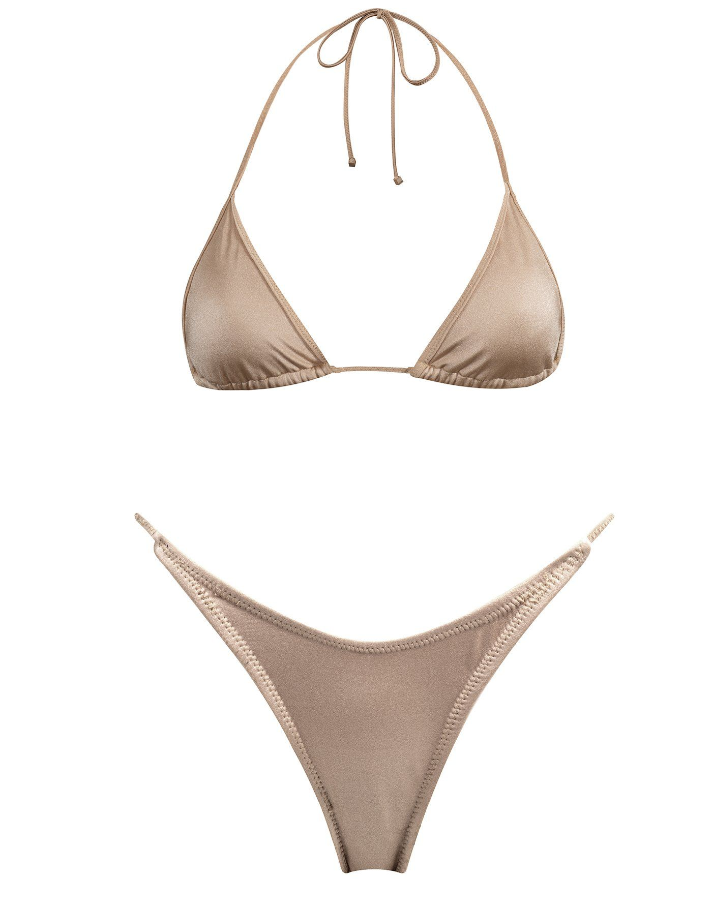 c20260ace49f Nude nylon spandex neck tie bikini. Fully adjustable triangle top with self  tie fastenings and matching high waist thin strap bottoms.