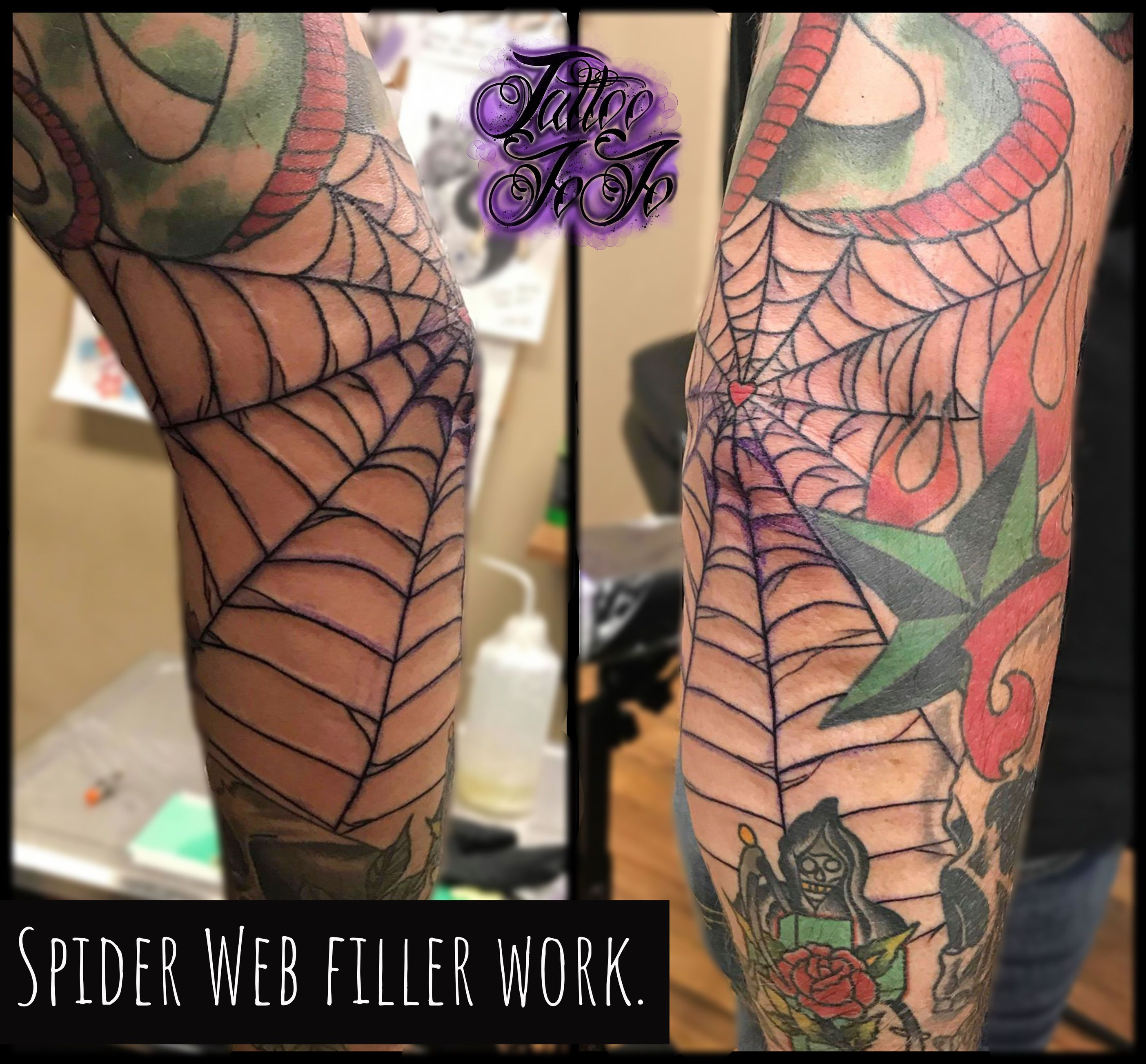 Some Spider Web Filler Work Right On That Elbow Tattoo Artist Jojo Book Consultation 219 286 3257 Tattoo Studio Ameri Tattoos Tattoo Work Tattoo Artists