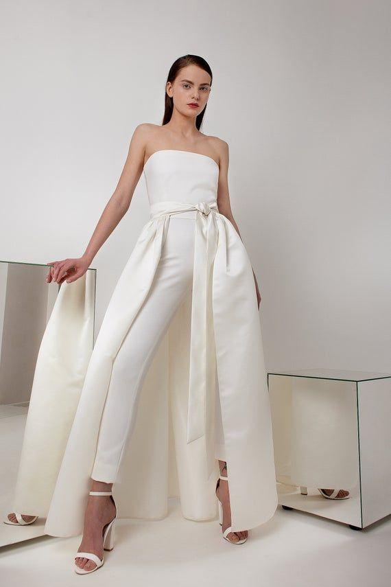 White Wedding Pantsuit And Skirt High Waist Skinny Pants Alternative Wedding Dress Bridal Suit Long Ivory Wedding Skirt Bridal Separates