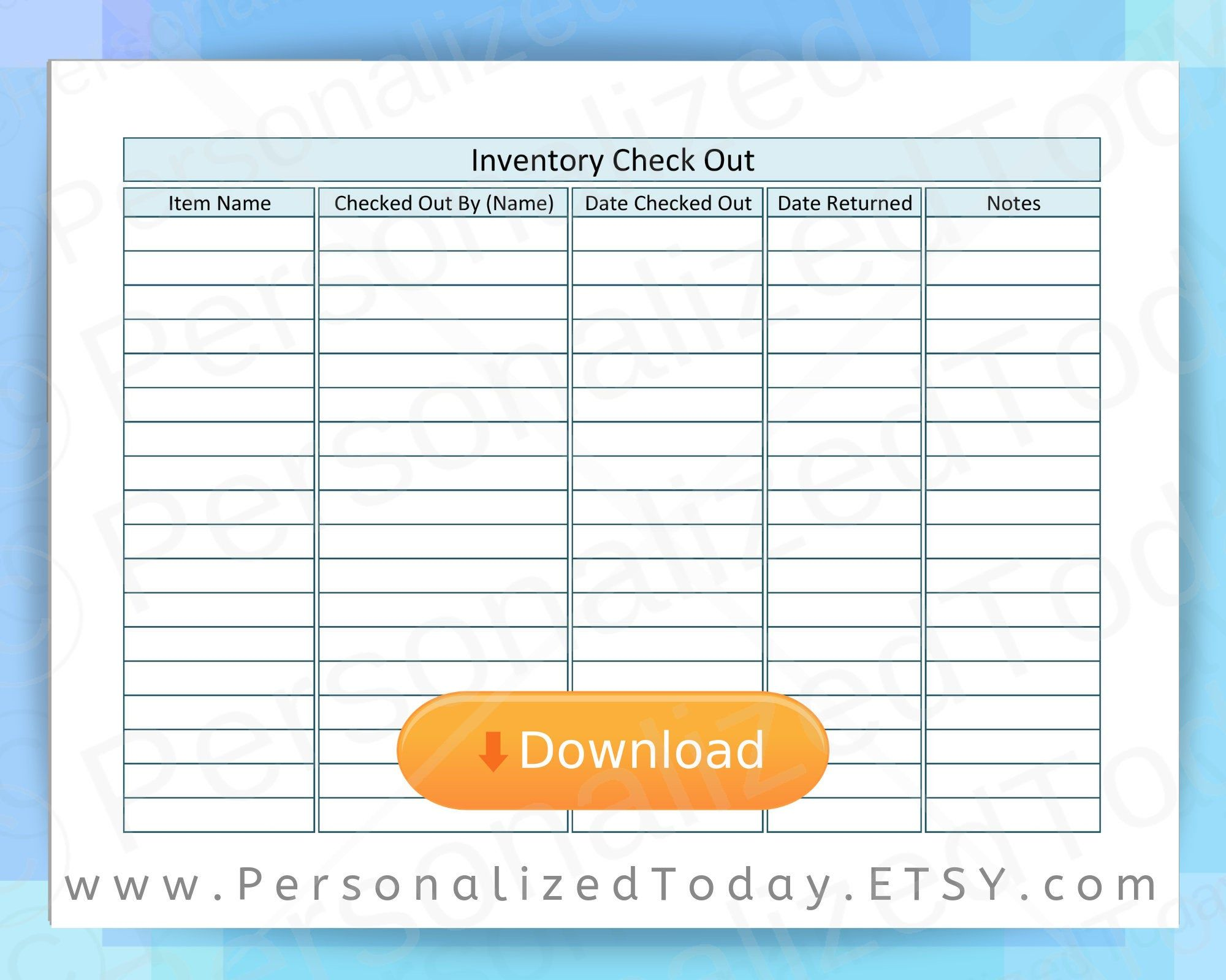 Inventory Sign Out Sheet Checkout Form Print And Write