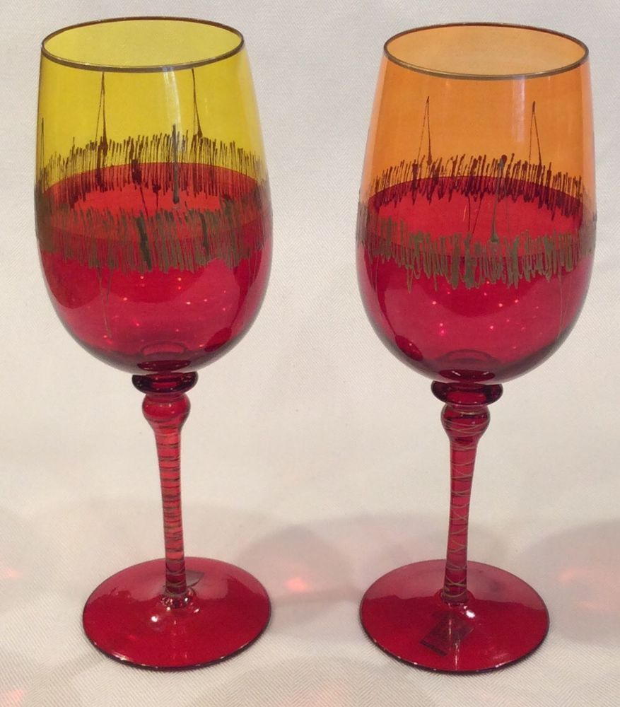 Lenox Red Ruby Balloon Wine Glasses Clear Stem Set Of Four No Box Lenox Wine Balloons Wine Glass