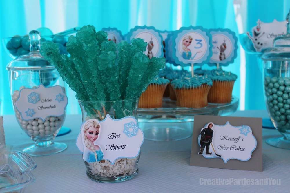 Rock candy and cupcakes at a Frozen birthday party! See more party planning ideas at CatchMyParty.com!