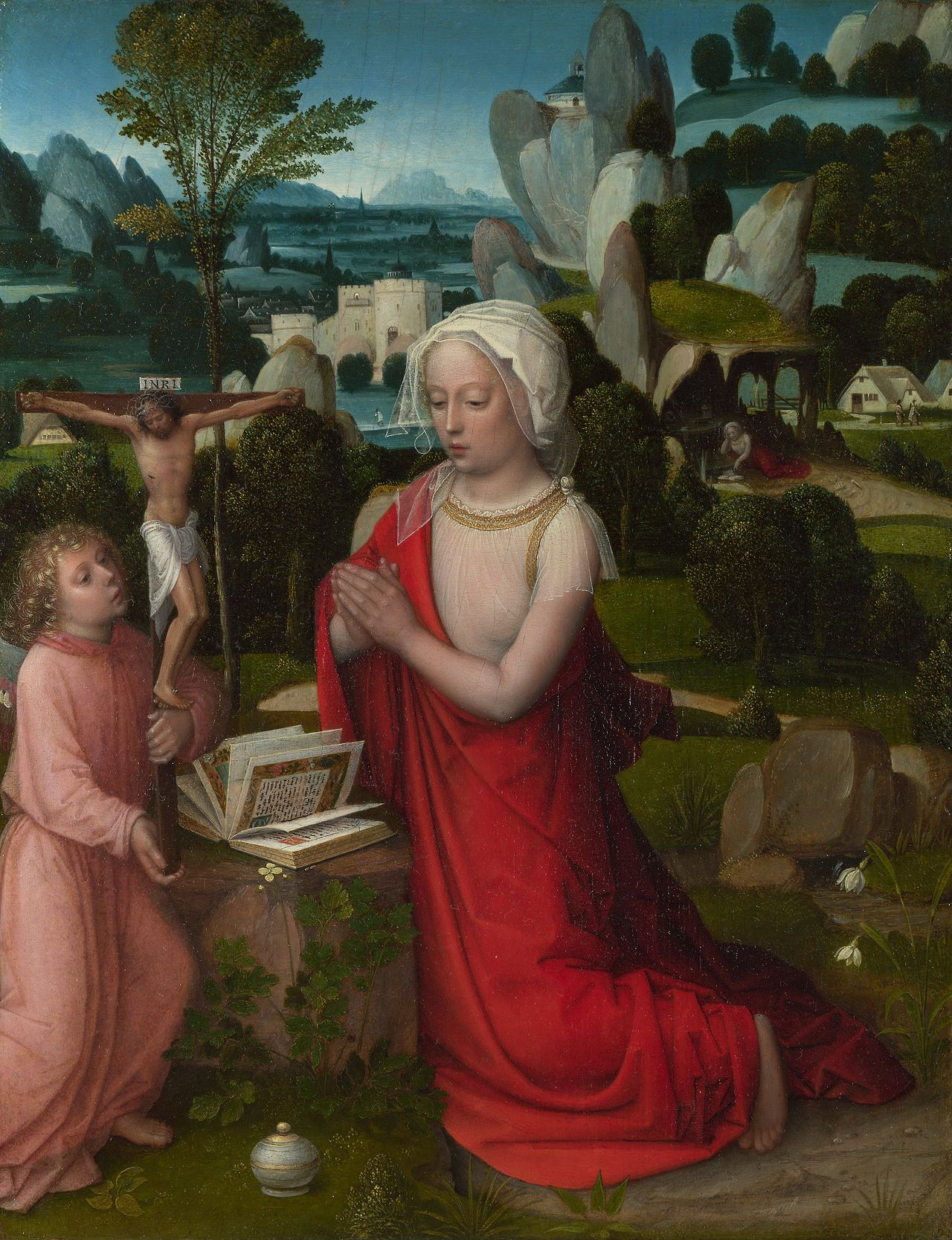 The Magdalen in a Landscape (perhaps about 1510-25). Adriaen Ysenbrandt (Belgian, 1480-1551). Oil on oak. National Gallery, London. Mary Magdalene is at prayer before a book and a crucifix which is held by an angel; the jar containing the ointment with which she anointed Christ is in the foreground. She appears again in the right background reading in a cave. This is said to be an early work, possibly of about 1510-25.
