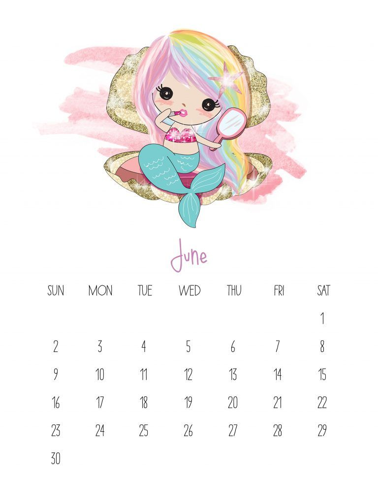 Kawaii Calendar 2019 September October And December Free Printable 2019 Kawaii Mermaid Calendar | 2019 | Cute calendar