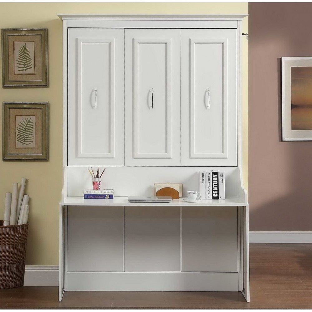 Best Gabriella Full Murphy Bed With Desk In White By Mdh 640 x 480