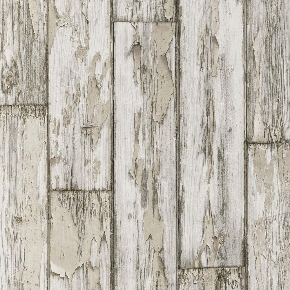 Birch w0050 02 peeling planks realistic distressed for Wood wallpaper for walls