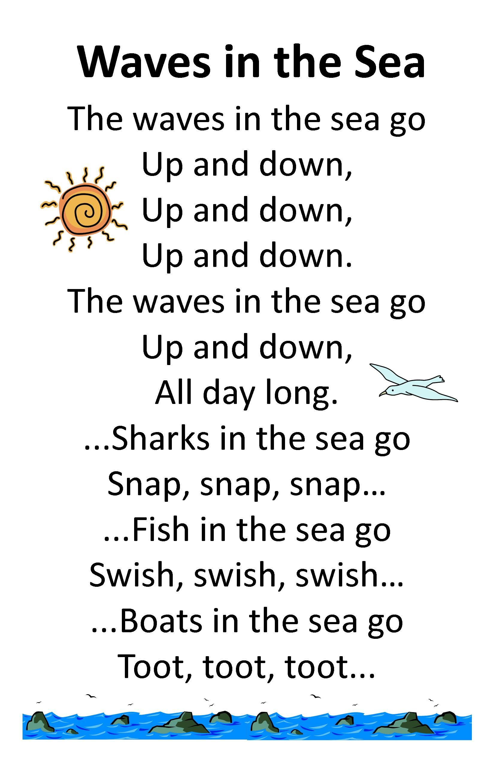Itty bitty summer tots tykes rhyme wave in the sea for Funny fishing songs