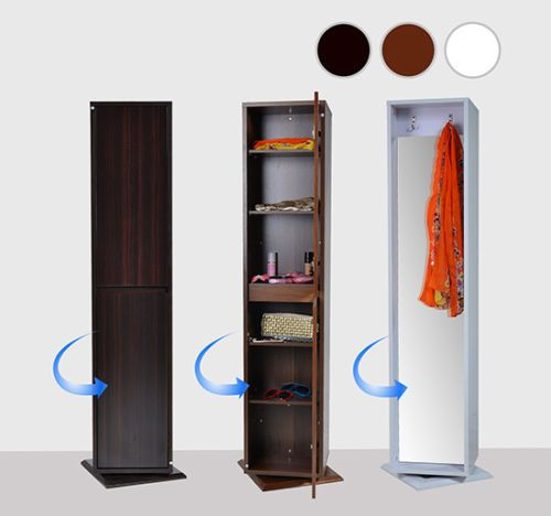 Rotating-Cabinet-Laundry-Storage-Kitchen-Pantry-Bathroom-Garage-Wood-Shelf-Black