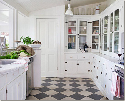 dark gray/off black and cream checkered floor instead of black and white