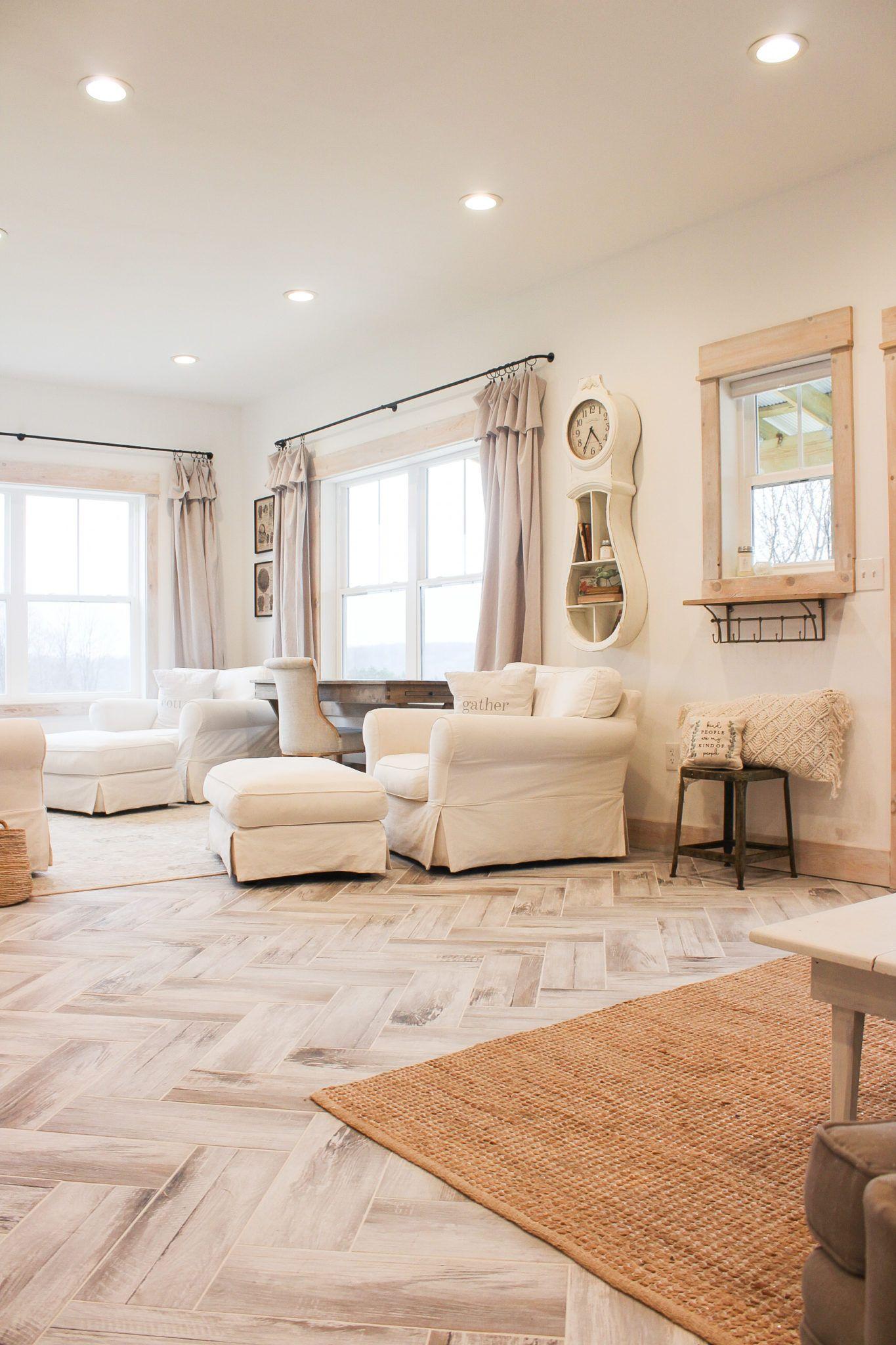 DIY Herringbone Tile Flooring | Fletcher Creek Cottage in ...
