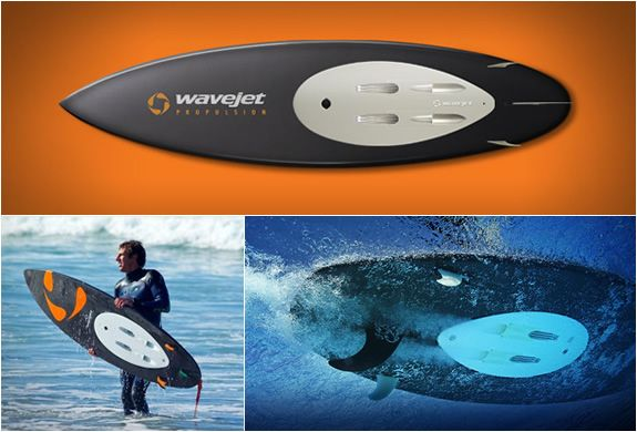 WaveJet is a revolutionary, one-of-a-kind Personal Water Propulsion system that will change the way you interact with water. A clean, quiet, battery-powered miniature jet drive, it can be plugged into any WaveJet-ready personal watercraft, including surfboards, standup paddle boards, kayaks, boogie boards and more. WaveJet overcomes the limitations of traditional surfing. It puts you where the action is. Fast. WaveJet is power over water.