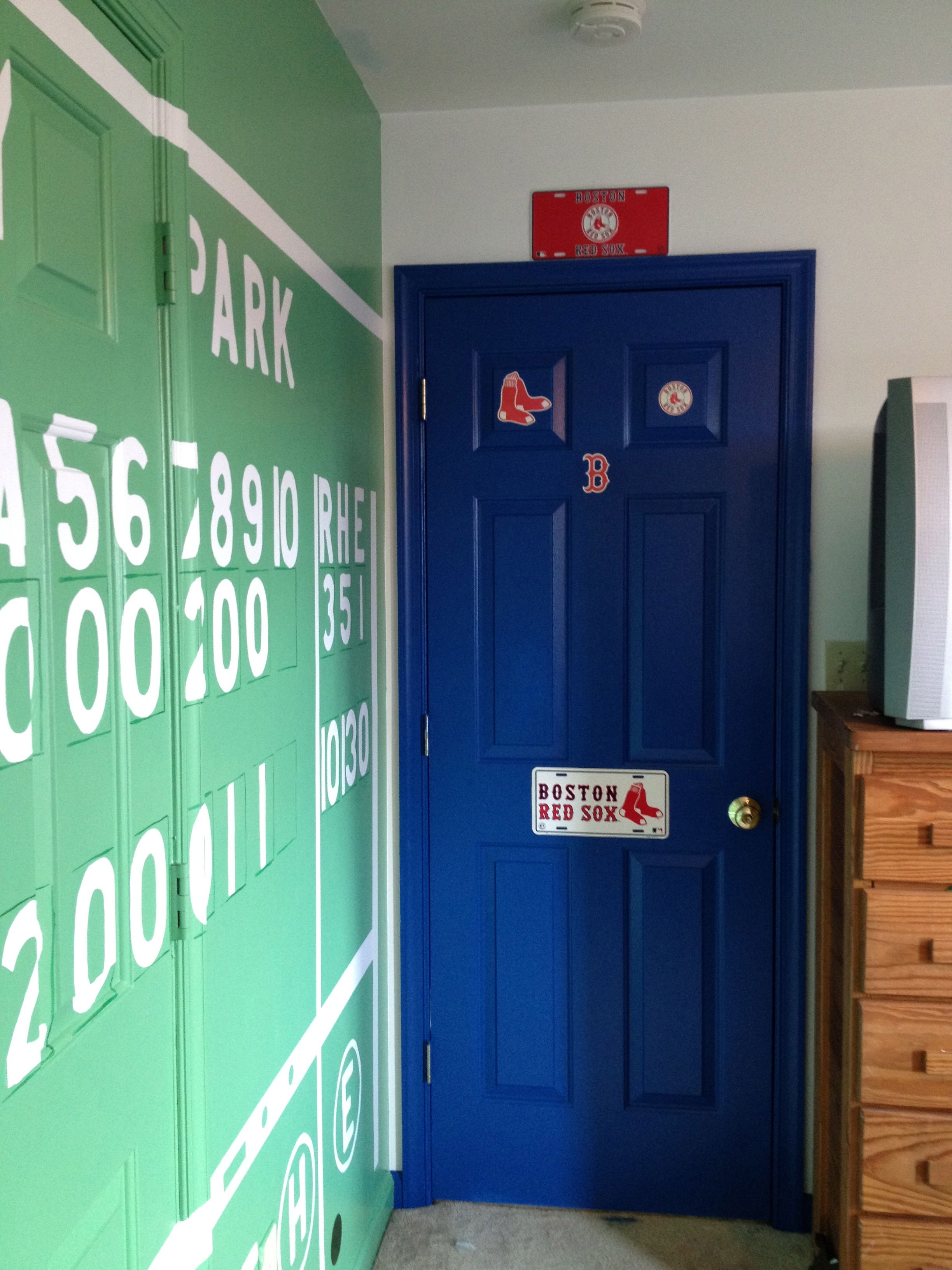 Pin By Julie Cover Dymon On Red Sox Bedroom Red Sox Room Big Boy Room Baseball Bedroom [ 3264 x 2448 Pixel ]