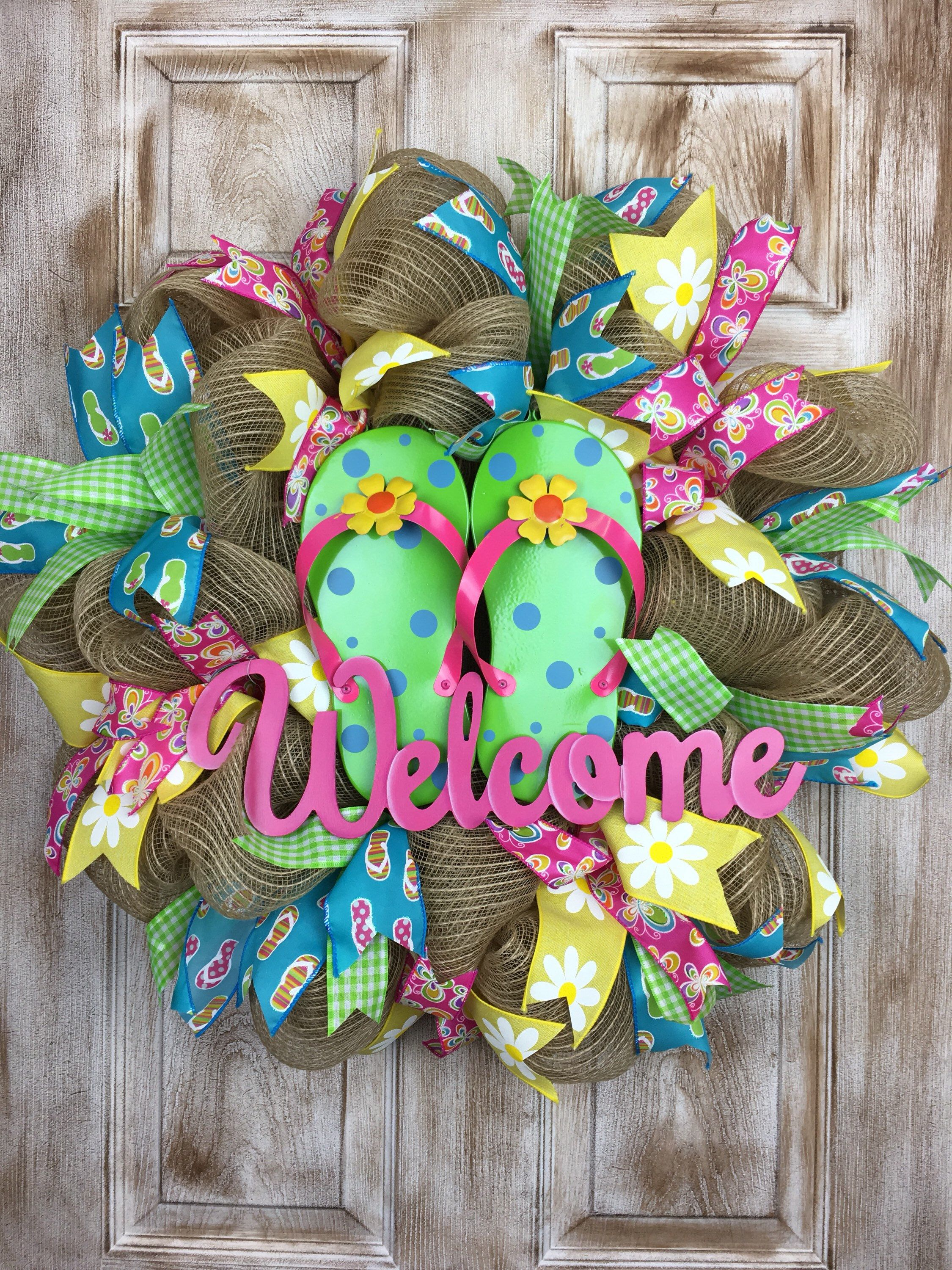 0ae30dbe33301 Flip Flop Wreaths · Welcome Wreath · Front Door Decor. Foyer Decorating. A  personal favorite from my Etsy shop https   www.etsy.com