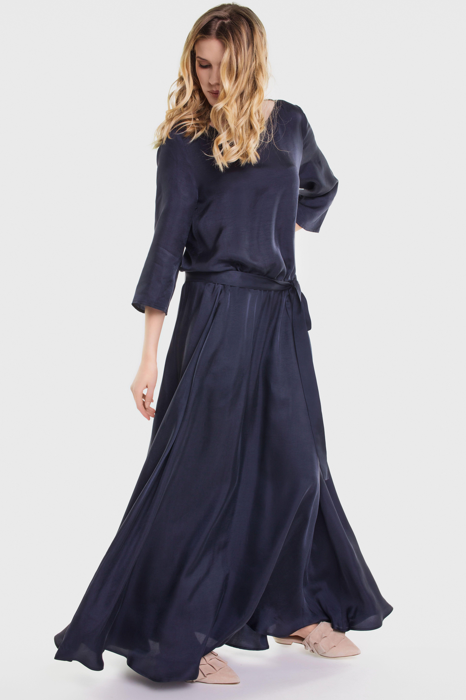 Dark Blue Cupro Dress Lili Cupro Dress Maxi Dress Dresses With Sleeves