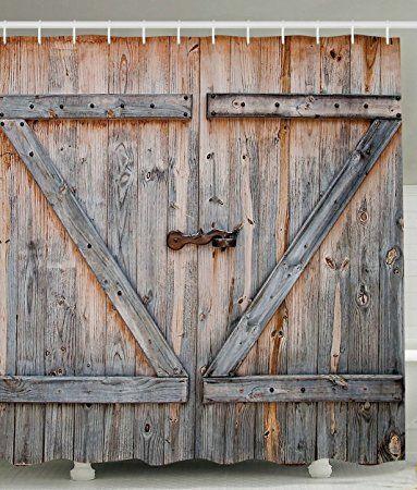 Yiger Rustic Country Barn Wood Door Old Wooden Garage Door Digital Printing Polyester Antiq Rustic Decor Curtains Wooden Garage Doors Living Room Decor Rustic