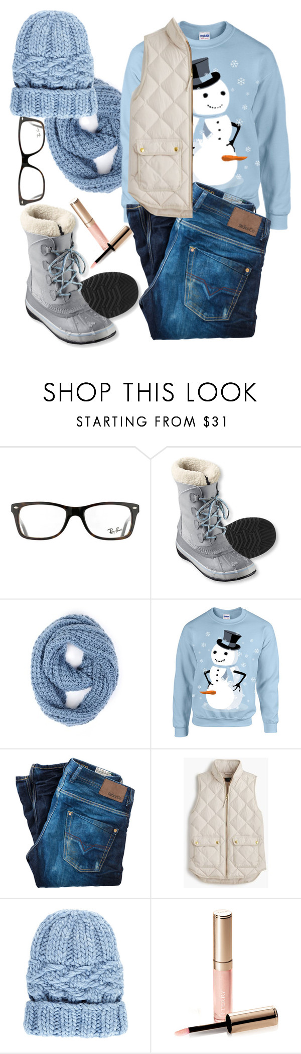 """""""Untitled #1252"""" by littledeath11 ❤ liked on Polyvore featuring Ray-Ban, L.L.Bean, Paula Bianco, Diesel, J.Crew, Eugenia Kim and By Terry"""