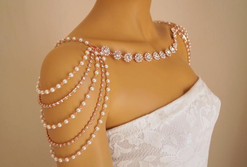 Épaule collier bijoux dépaule or Rose collier de mariage   Etsy