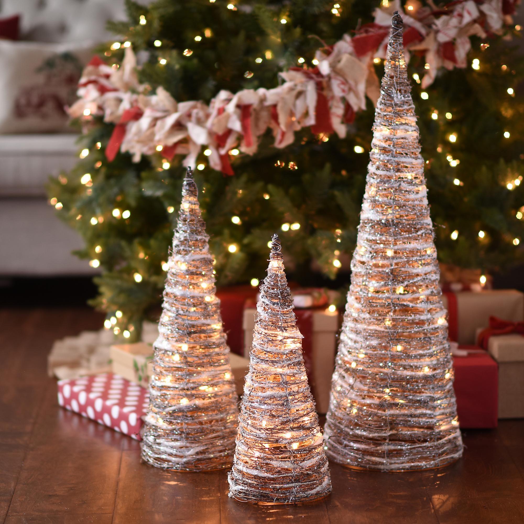 PreLit Flocked Rattan Cone Trees, Set of 3 Christmas