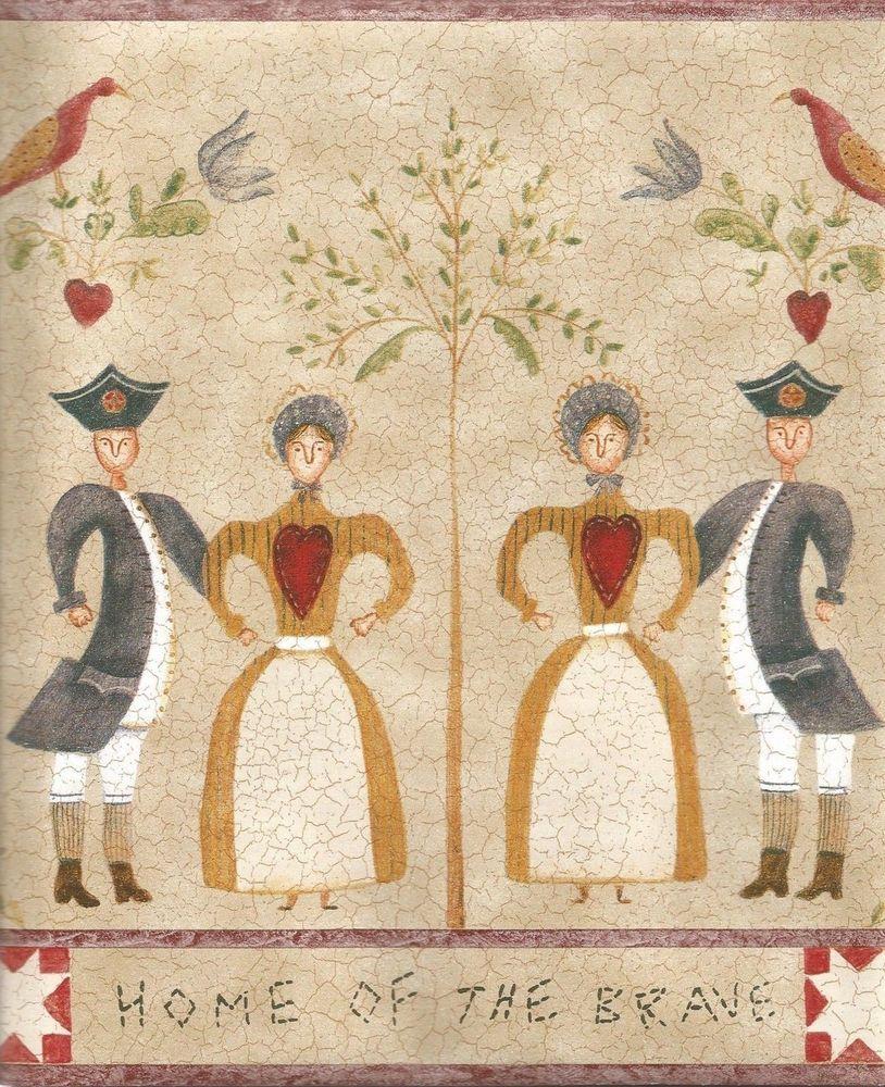 Carol Endres Americana folk birds heart star wallpaper