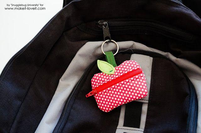 Snugglebug University: Lunch Money Zippered Apple Pouch Tutorial