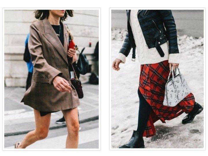 Karierte Damenbekleidung, ideal für den Herbst.
