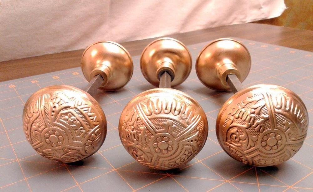 3 Sets of 2 Antique Corbin Door Knobs Polished Cast Brass Eastlake ...
