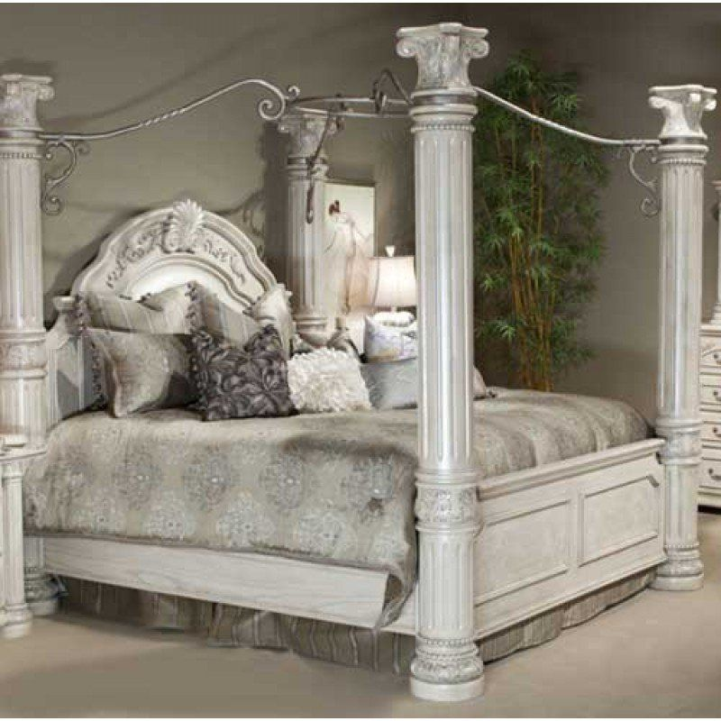 Silver Canopy Bed Frame Part - 40: AICO Monte Carlo II Silver Pearl California King Canopy Bed AI-N53000CK-03