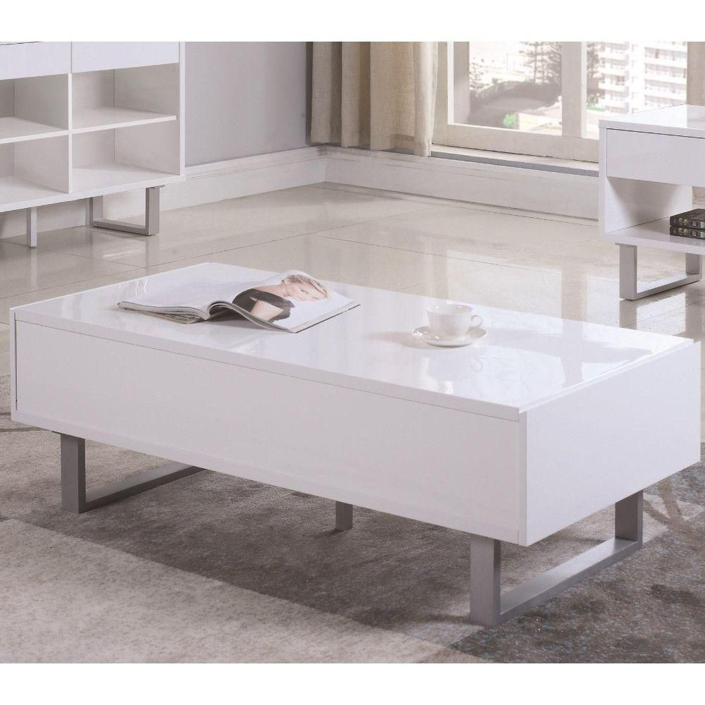 Benjara Contemporary 49 In White Large Rectangle Wood Coffee Table With Metallic Base Bm184966 The Home Depot Coffee Table With Storage Coffee Table Contemporary Coffee Table [ 1000 x 1000 Pixel ]