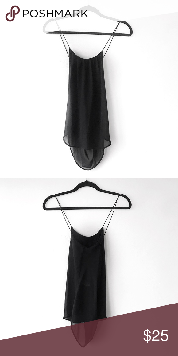 2b59201eec0d51 Zara Silky Cami Black tank top cami from Zara. Super silky sheer material  but lined inside. Scoop low back. True to size XS. Zara Tops Camisoles
