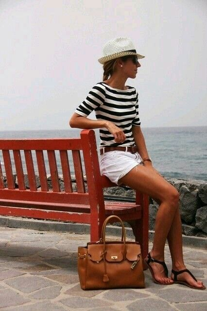 Not sure how i feel about half sleeves (i just roll mine up), but this is such a classic summer look!