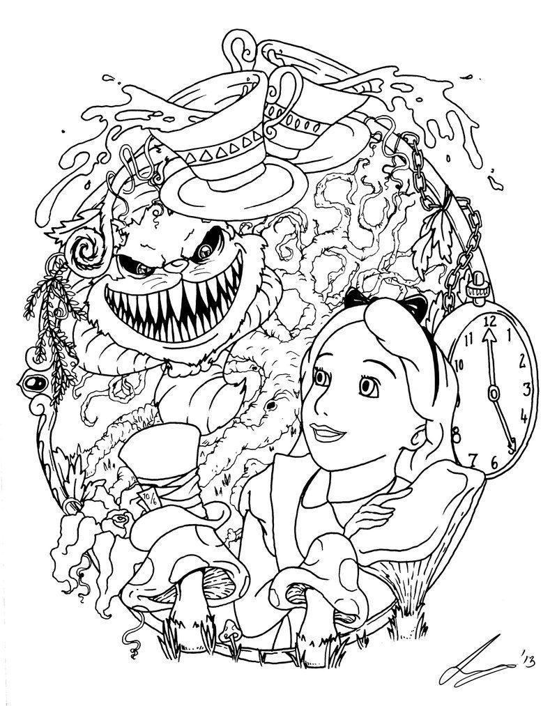 Alice In Wonderland Tattoo Flash by acidic055.deviantart